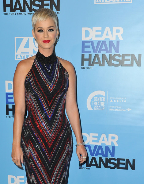 Katy Perry Bangle Bracelet [clothing,dress,fashion model,cocktail dress,premiere,shoulder,hairstyle,fashion,neck,carpet,arrivals,dear evan hansen,katy perry,performance,los angeles,california,ahmanson theatre,los angeles opening night performance]