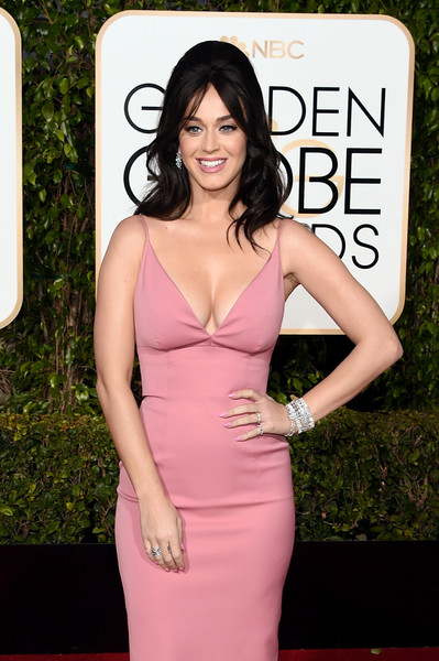 Katy Perry Diamond Bracelet [hair,dress,clothing,pink,hairstyle,red carpet,cocktail dress,carpet,shoulder,premiere,arrivals,katy perry,beverly hills,california,beverly hilton hotel,golden globe awards,annual golden globe awards]