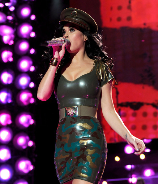 Katy Perry Military Cap [uso presents ``vh1 divas salute the troops,performance,latex clothing,entertainment,music artist,singer,clothing,singing,performing arts,music,stage,katy perry,vh1 divas salute the troops,mcas miramar,california,uso,pt,show,concert event]