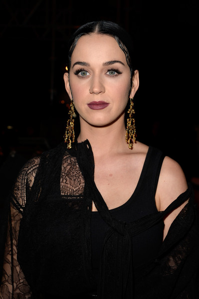 Katy Perry Gemstone Chandelier Earrings [show,face,hair,eyebrow,beauty,lip,fashion,head,skin,chin,hairstyle,katy perry,front row,part,paris,france,givenchy,paris fashion week womenswear fall]