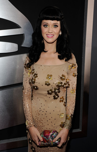 Katy Perry Gemstone Inlaid Clutch [hair,face,clothing,fashion,beauty,head,eyebrow,shoulder,hairstyle,fashion model,arrivals,katy perry,staples center,los angeles,california,52nd annual grammy awards]