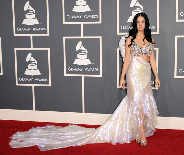 Katy Perry Cutout Dress [katy perry,gown,flooring,carpet,fashion model,dress,red carpet,shoulder,fashion,formal wear,haute couture,annual grammy awards,staples center,los angeles,california]