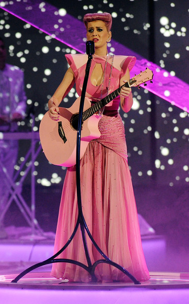 Katy Perry Cutout Dress [performance,entertainment,music artist,music,performing arts,string instrument,musician,musical instrument,event,performance art,katy perry,american music awards,california,los angeles,nokia theatre l.a. live,show]