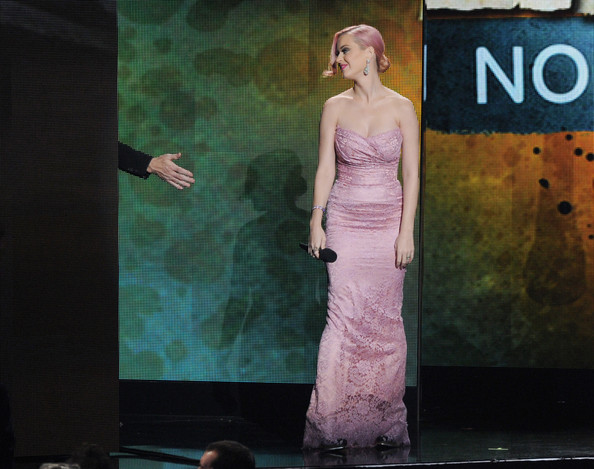 Katy Perry Evening Dress [fashion,green,dress,beauty,fashion design,performance,event,gown,haute couture,fashion show,katy perry,grammy,grammy nominations concert live,california,los angeles,nokia theater,concert,show]