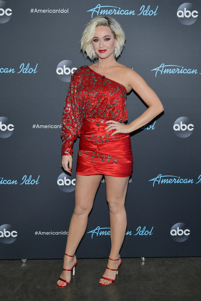 Katy Perry One Shoulder Dress [american idol,clothing,cocktail dress,dress,shoulder,red,fashion,hairstyle,joint,leg,footwear,arrivals,katy perry,taping,california,los angeles,abc]