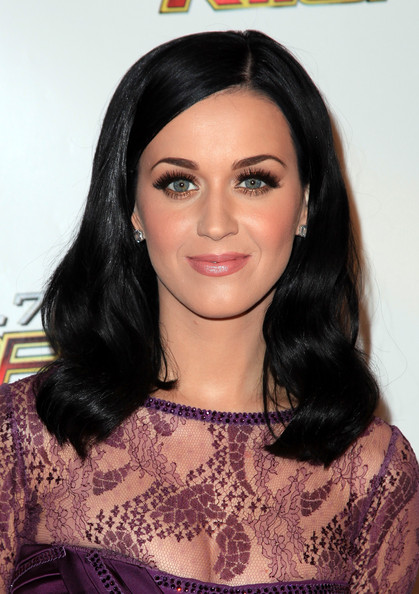 Katy Perry Diamond Studs [hair,hairstyle,face,eyebrow,black hair,long hair,beauty,lip,chin,forehead,arrivals,katy perry,california,los angeles,nokia theater l.a. live,kiis fm,jingle ball 2010]