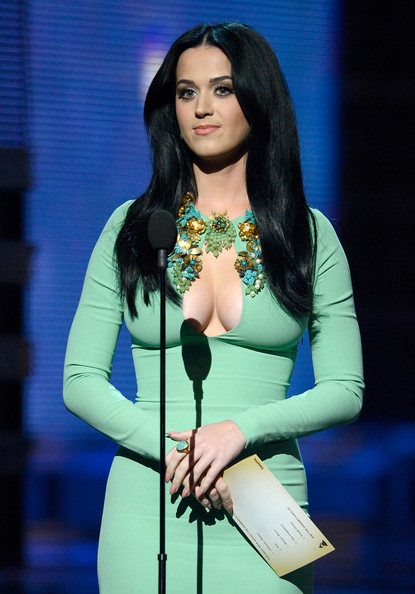 Katy Perry Gemstone Ring [katy perry,beauty,black hair,fashion,performance,music artist,singer,long hair,waist,electric blue,fashion model,55th annual grammy awards,show,staples center,los angeles,california]