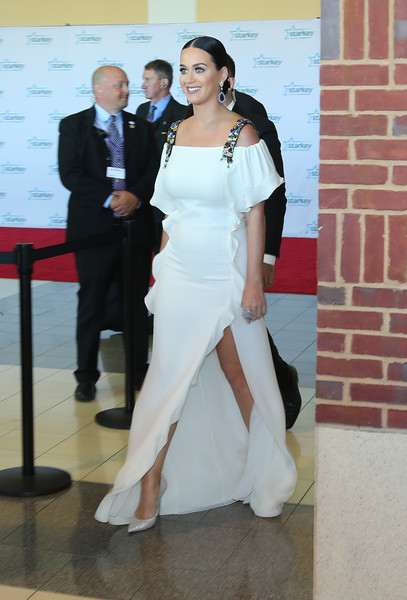 Katy Perry Evening Pumps [starkey hearing foundation 2015 so the world,white,dress,clothing,gown,wedding dress,formal wear,shoulder,suit,bride,fashion,paul,katy perry,red carpet,mn july26,st. paul rivercentre,minnesota,starkey hearing foundation so the world,gala]