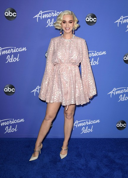 Katy Perry Evening Pumps [american idol,clothing,dress,electric blue,cocktail dress,carpet,fashion,red carpet,premiere,joint,footwear,dress,katy perry,clothing,blue,hollywood roosevelt hotel,abc hosts premiere,event,premiere event,premiere,katy perry,american idol,american idol - season 18,photograph,getty images,stock photography,musician,american broadcasting company]