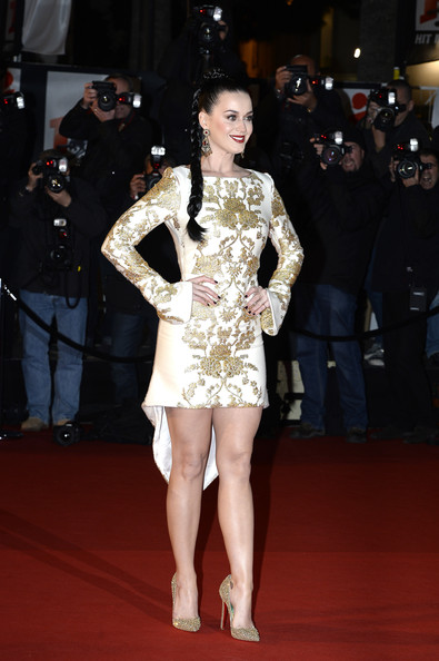 Katy Perry Evening Pumps [fashion model,clothing,red carpet,leg,dress,fashion,carpet,hairstyle,flooring,thigh,red carpet arrivals,katy perry,cannes,france,nrj music awards,palais des festivals]