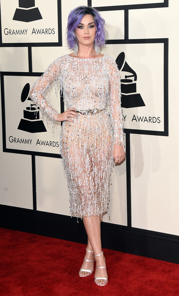 Katy Perry Strappy Sandals [flooring,fashion model,carpet,fashion,shoulder,red carpet,dress,catwalk,cocktail dress,joint,arrivals,katy perry,grammy awards,staples center,los angeles,california,the 57th annual grammy awards]