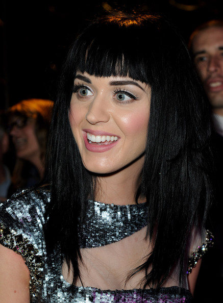Katy Perry Long Straight Cut with Bangs [get him to the greek,hair,face,hairstyle,eyebrow,black hair,bangs,chin,beauty,lip,smile,katy perry,california,los angeles,greek theater,universal pictures,premiere,party,premiere,afterparty]