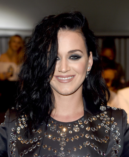 Katy Perry Teased [moschino show,hair,beauty,hairstyle,human hair color,eyebrow,fashion model,long hair,black hair,smile,brown hair,katy perry,menswear,moschino spring,l.a. live event deck,la,california,womens resort collection,made la]