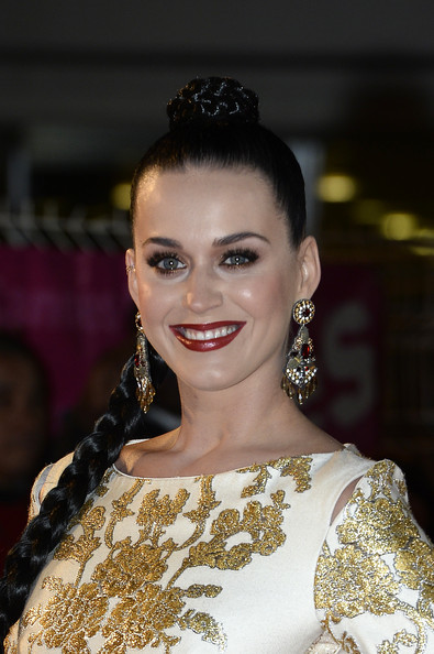 Katy Perry Red Lipstick [hair,face,hairstyle,eyebrow,beauty,fashion,head,chin,lip,jewellery,red carpet arrivals,katy perry,cannes,france,nrj music awards,palais des festivals]
