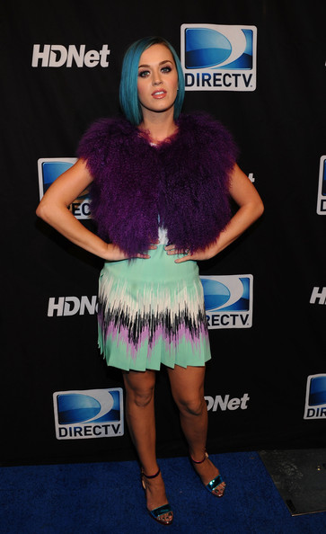 Katy Perry Vest [clothing,electric blue,carpet,fur,fashion,dress,red carpet,footwear,flooring,long hair,super,mark cuban,peyton manning,katy perry,indianapolis,indiana,directv,hdnet,sixth annual celebrity beach bowl,party]