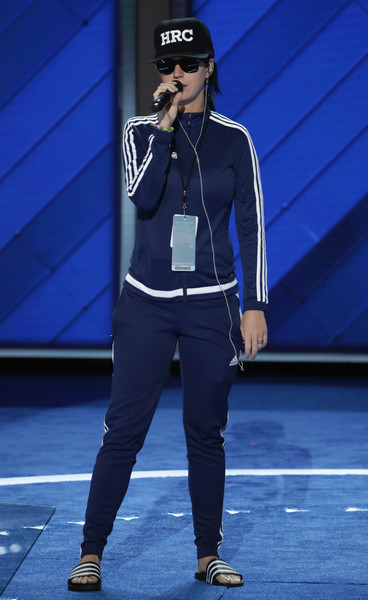 Katy Perry Sports Pants [clothing,sportswear,fashion,electric blue,sweatpant,footwear,street fashion,trousers,performance,outerwear,katy perry,hillary clinton,number,votes,nomination,philadelphia,party,democratic national convention: day four,democratic national convention,start]
