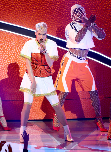 Katy Perry Sports Shorts [performance,entertainment,performing arts,event,musical,dancer,performance art,stage,dance,musical theatre,katy perry,mtv video music awards,inglewood,california,l,the forum,show]