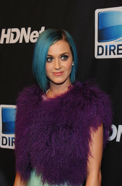 Katy Perry Bob [hair,hairstyle,hair coloring,purple,electric blue,black hair,long hair,violet,turquoise,brown hair,super,mark cuban,peyton manning,katy perry,indianapolis,indiana,directv,hdnet,sixth annual celebrity beach bowl,party]