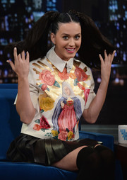 Katy Perry appeared on 'Late Night with Jimmy Fallon' wearing a Virgin Mary blouse by House of Holland.