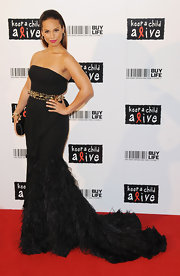Alicia was a dramatic beauty at the Keep a Child Alive Ball in a strapless black feathered gown.