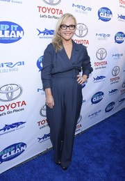 Rachael Harris wore a belted blue jumpsuit to the Keep It Clean Comedy Benefit.