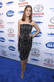 Kate Walsh sheathed her slim figure in a geometric-patterned strapless dress for the Keep It Clean Comedy Benefit.