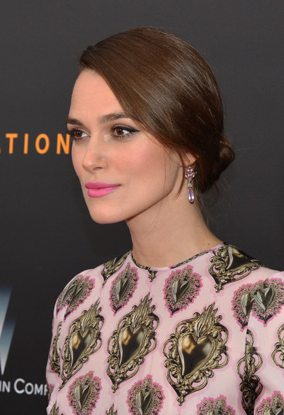 Keira Knightley Dangling Gemstone Earrings [the imitation game,hair,face,hairstyle,shoulder,eyebrow,beauty,chin,brown hair,lip,neck,keira knightley,new york city,weinstein company,premiere,premiere]