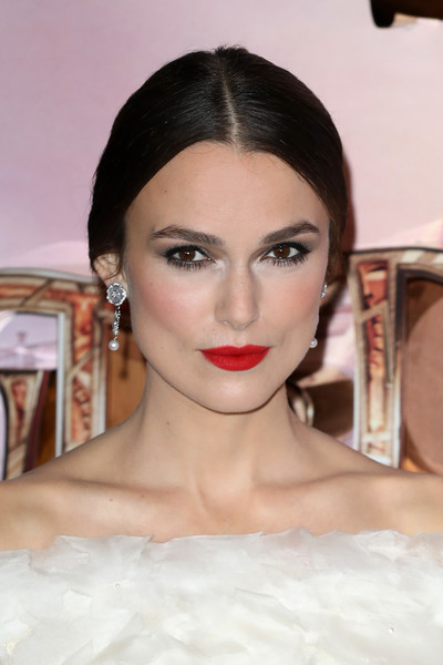 Keira Knightley Pearl Drop Earrings [the nutcracker european,hair,lip,face,eyebrow,hairstyle,skin,beauty,chin,forehead,head,red carpet arrivals,keira knightley,european,england,london,vue westfield,disney,premiere]