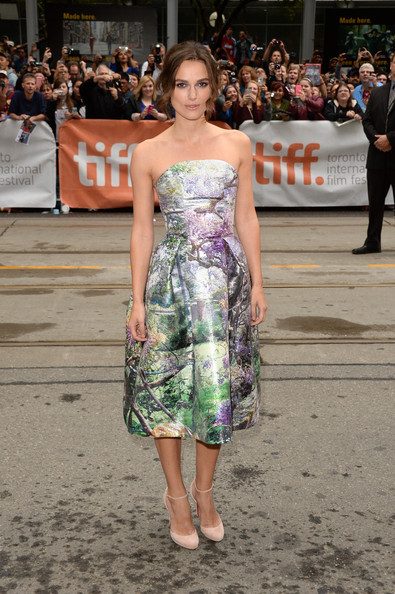 Keira Knightley Pumps [can a song save your life?,clothing,dress,fashion,shoulder,premiere,fashion model,strapless dress,footwear,event,public event,keira knightley,toronto,canada,princess of wales theatre,toronto international film festival,premiere]