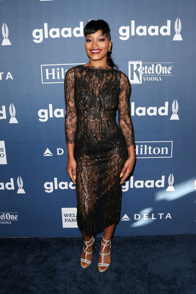 Keke Palmer Gladiator Heels [clothing,dress,fashion model,cocktail dress,fashion,carpet,premiere,hairstyle,red carpet,fashion design,arrivals,keke palmer,glaad media awards,beverly hills,california,beverly hilton hotel]