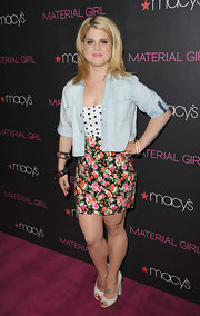 Kelly Osbourne launched the new Material Girl line in white leather peep toes with chunky heels.