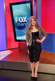 Kelly Osbourne took to 'FOX & Friends' in NYC in a black frock paired with an animal-print blazer. She topped off the look with black pumps.