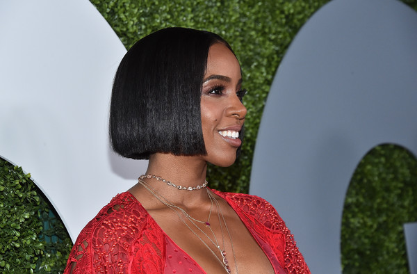 Kelly Rowland Bob [hair,green,hairstyle,beauty,black hair,fashion,lip,fun,smile,long hair,arrivals,kelly rowland,california,los angeles,chateau marmont,gq men of the year party]