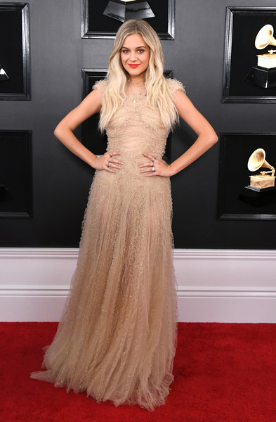 Kelsea Ballerini Evening Dress [red carpet,clothing,dress,fashion model,hair,carpet,gown,flooring,hairstyle,long hair,arrivals,kelsea ballerini,grammy awards,staples center,los angeles,california,annual grammy awards]