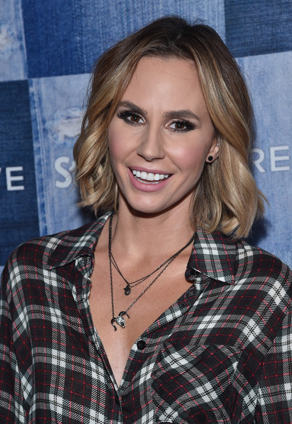 Keltie Knight Short Wavy Cut [hair,face,hairstyle,blond,layered hair,lip,brown hair,plaid,premiere,long hair,keltie knight,the line,los angeles,california,people stylewatch,red carpet,people stylewatch denim event]