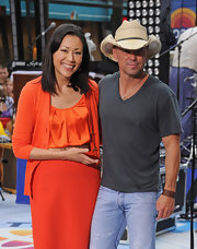 Ann Curry was a bright sight on the set of the 'Today' show in an all-orange cardigan, blouse, and skirt combo.