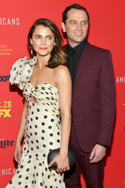 Keri Russell Hard Case Clutch [the americans,season,polka dot,event,premiere,dress,formal wear,flooring,actors,keri russell,matthew rhys,new york city,lincoln center,alice tully hall,premiere]