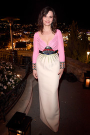 Juliette Binoche got playful with this UFO-motif gown by Gucci at the Kering and Cannes Women in Motion dinner.