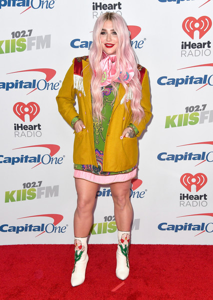 Kesha Blazer [jingle ball 2017,clothing,red carpet,carpet,footwear,flooring,outerwear,costume,fashion design,arrivals,kesha,inglewood,california,kiis fm,capital one,the forum]