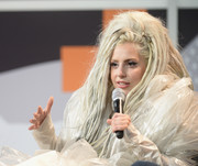Lady Gaga's teased blonde locks was a perfect match to her plastic outfit at SXSW.
