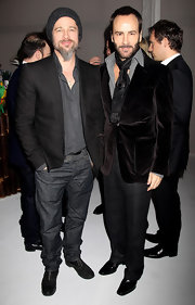 Tom Ford posed with super star Brad Pitt as he showed off his velvet suit jacket.