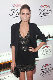 Amaia Salamanca was seen wearing a black mini dress with a touch of boho patterned sequins at the Kiehl's anniversary party.