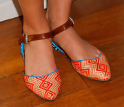 AnnaSophia Robb chose these colorful straw fats with a leather ankle strap for her look at a charity event in Santa Monica.