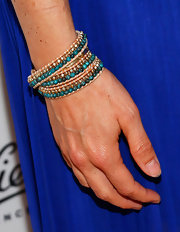 Amy Smart's beaded bracelet added a touch of bohemian-flare to her look at the Kiehl's event in Santa Monica.