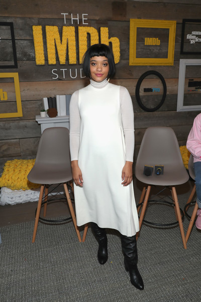 Kiersey Clemons Knee High Boots [the imdb show,hearts beat loud,white,clothing,fashion,dress,fashion design,footwear,costume,photography,style,kiersey clemons,location,utah,park city,imdb studio,the imdb studio,the sundance film festival]