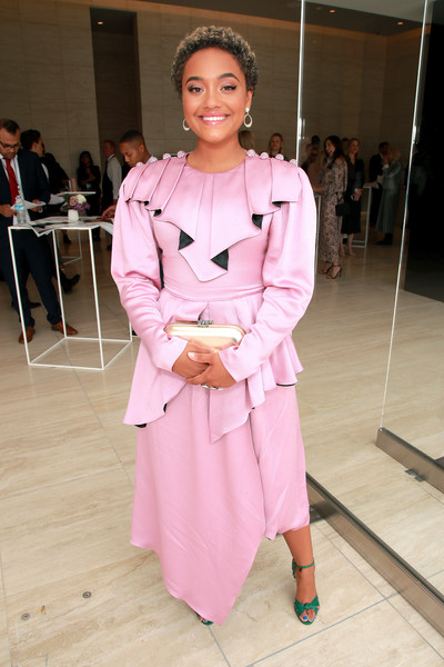 Kiersey Clemons Evening Dress [the hollywood reporter,pink,clothing,fashion,trench coat,coat,fashion design,outerwear,dress,event,costume,kiersey clemons,california,los angeles,hollywood reporter,milk studios,empowerment in entertainment event]