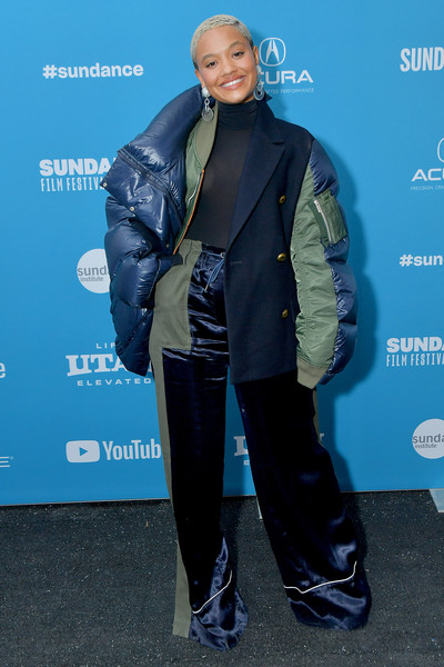 Kiersey Clemons Wide Leg Pants [sweetheart premiere,fashion,jacket,outerwear,electric blue,footwear,premiere,shoe,style,fashion design,carpet,kiersey clemons,utah,park city,library center theater,sundance film festival]