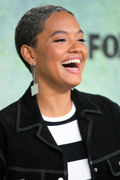 Kiersey Clemons Buzzcut [fox hosts ``rent press junket,press junket,hair,facial expression,hairstyle,eyebrow,chin,forehead,smile,black hair,laugh,gesture,kiersey clemons,rent,fox studio lot,century city,california]