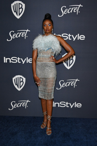 Kiki Layne Strapless Dress [clothing,dress,shoulder,fashion,footwear,cocktail dress,joint,carpet,shoe,fashion design,kiki layne,beverly hills,california,the beverly hilton hotel,warner bros,instyle golden globe,instyle golden globe after party,arrivals,red carpet,celebrity,television,the beverly hilton,golden globe awards,hotel,supermodel,yesterday // stars,cocktail dress,socialite]