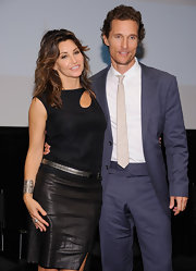 Gina Gershon added some sparkle to her look with a metallic silver belt at the 'Killer Joe' special screening.